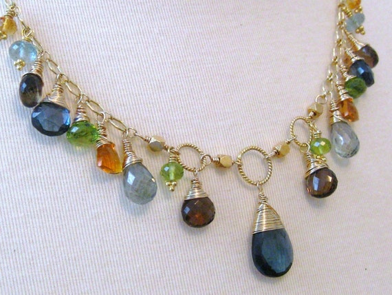 London Blue Topaz, Multi Gemstone Necklace-Terre et Mer