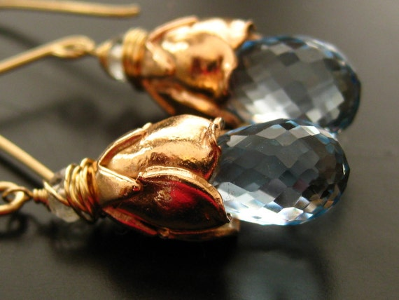 Blue Topaz, Rose Gold Vermeil Earrings-Holland Tulips