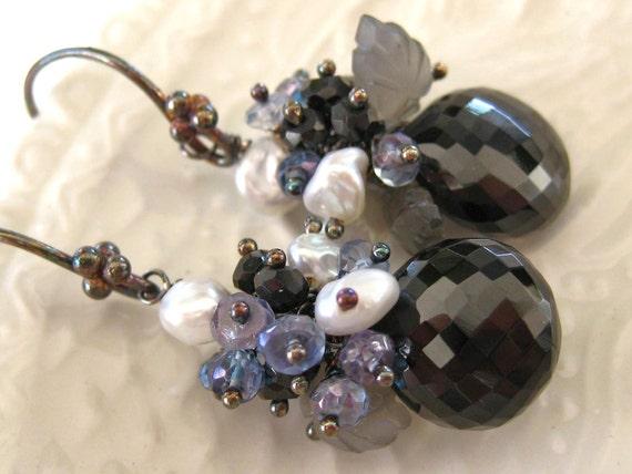 Black Spinel Blue Topaz Earrings-La Sorciere