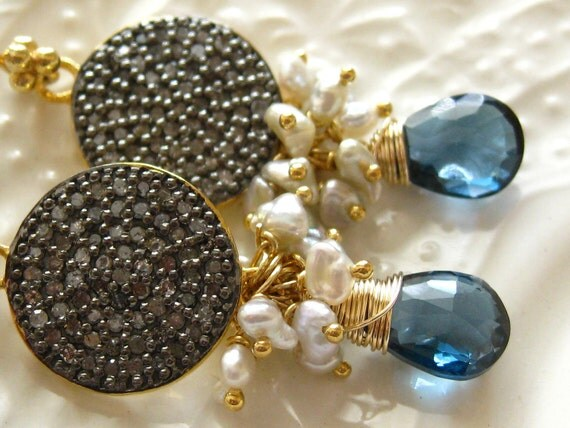 Pave Diamond Disc and London Blue Topaz earrings-After Midnight-Reserved