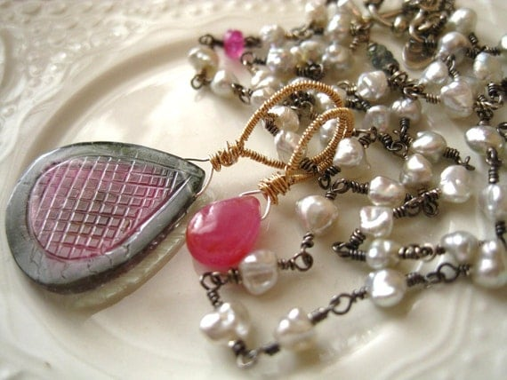 Watermelon Tourmaline, Sapphire, Pearl Necklace-Afternoon Picnic-Layaway Payments