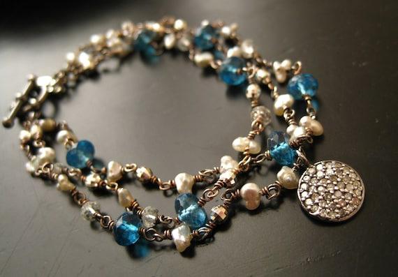 Reserved for K-Pave Diamond, Blue Topaz, Pearl Multi Strand Bracelet-Lunar Eclipse