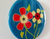 TWIN BLOSSOMS (Blue) -- POCKET MIRROR or Large Magnet