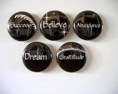 5 Magnet Set -- INSPIRATIONAL WORDS 6 (Success, Believe, Abundance, Dream, Gratitude)