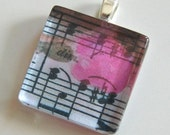 MUSIC WITH ROSES - Glass Tile Pendant - Buy 2 Pendants Get 1 Free