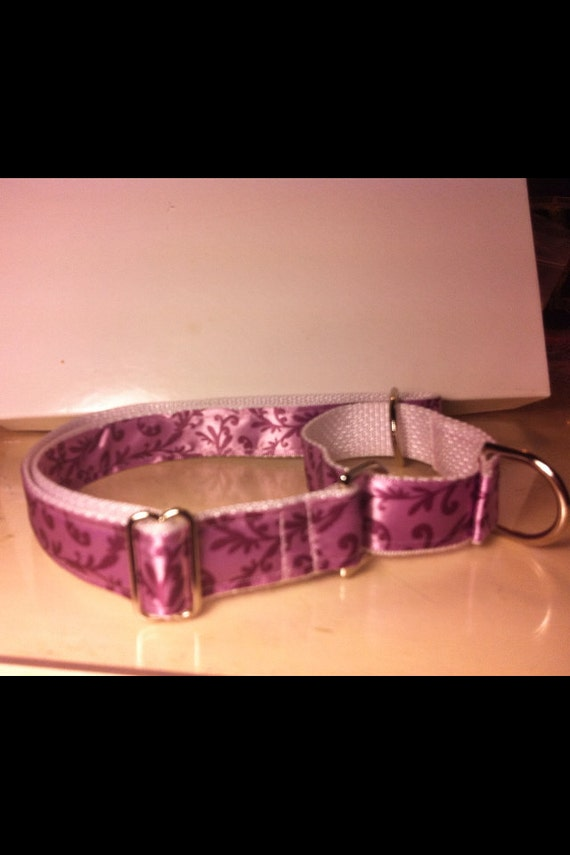 Beautiful Hand Made MARTINGALE Dog Collar Purple Damask Print
