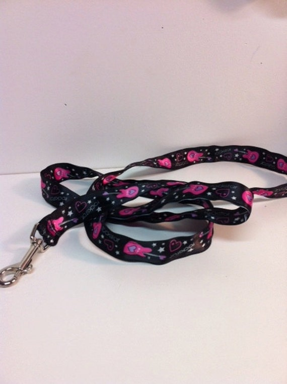 Gorgeous Handmade Leash in Fun Black Hot Pink ROCK STAR print for Your Pampered Pet