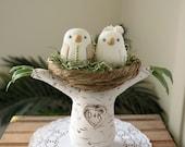 Wedding Cake Topper - Love Birds with Tree and Nest - Medium