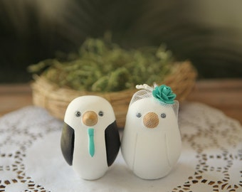 Custom Wedding Cake Topper - Small Hand Painted Love Birds