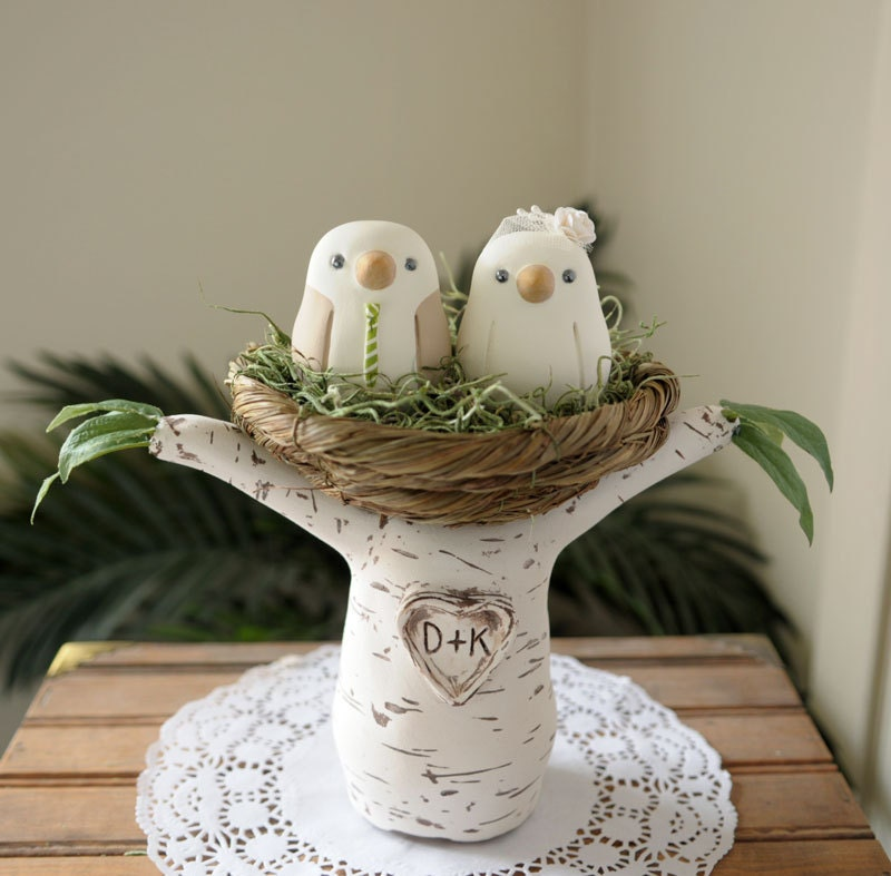 love bird wedding cake topper wedding cake topper birds with tree and nest medium 5607