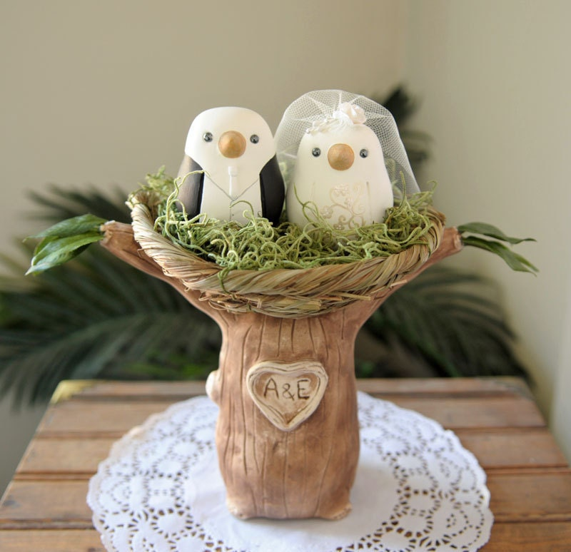 Custom Wedding Cake Topper Love Birds Tree With Nest Hand