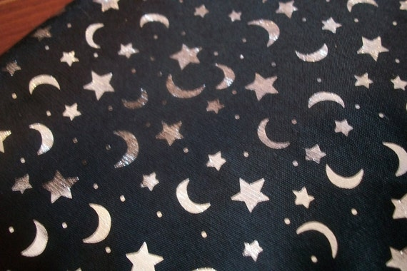 Moon and star fabric black and silver fabric for Moon and stars fabric