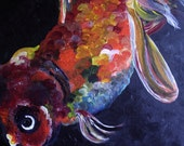 Original Painting of a Fancy Goldfish - 12x12 - Acrylic on Canvas Board