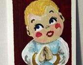 Choir Boy - ACEO - Original Acrylic Painting of a Christmas Toy on Canvas Art Card