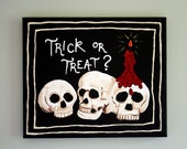 Halloween Skulls - 10x12 Original Acrylic Painting on Gallery Wrapped Canvas