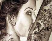 Shine - Original Drawing of a Woman Adorned with Tattoos - 9x12