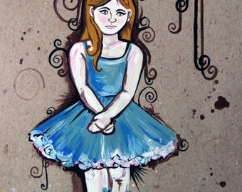 SALE - Isabella - Original Acrylic Painting of a Ballerina on Recycled Paper