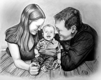 Custom Portrait - Order Your Personalized, Hand-Drawn Portrait - 11x14
