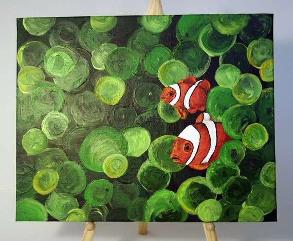 Hide and Seek - Original Painting of Clown Fish - 8x10 Canvas Board