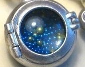 STEAMPUNK LOCKET medium PORTHOLE mourning locket sterling silver on long gunmetal ball chain  blue and gold balls