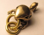 frog pendants BABY STEAMPUNK TADFISH bronze with brass rings
