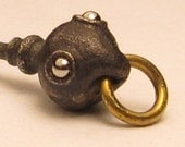 Steampunk jewelry EMBRYO DROP tiny steam punk bronze with brass rings and stainless steel eyes