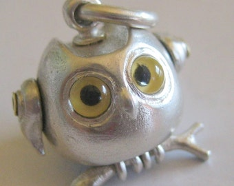owl necklace GLASSY EYED OWL solid sterling silver steampunk