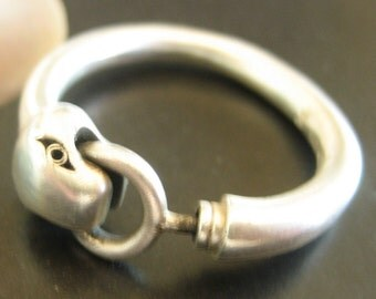 SERPENT RING  ouroboros steampunk sterling silver size 6 US