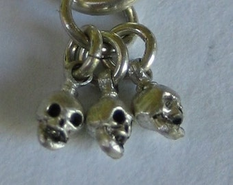 skull charms ITSY BITSY SKULLS sterling silver optional 45cm silver vermeil chain
