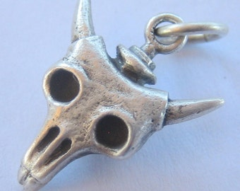 skull necklace TINY COW SKULL steampunk sterling silver