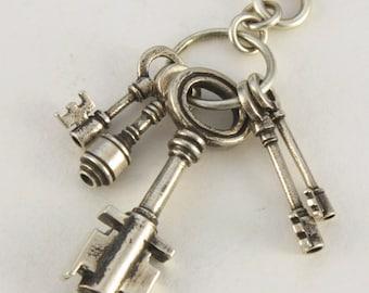 SKELETON KEY necklace  5 key set   steampunk solid sterling silver (gunmetal ball chain)