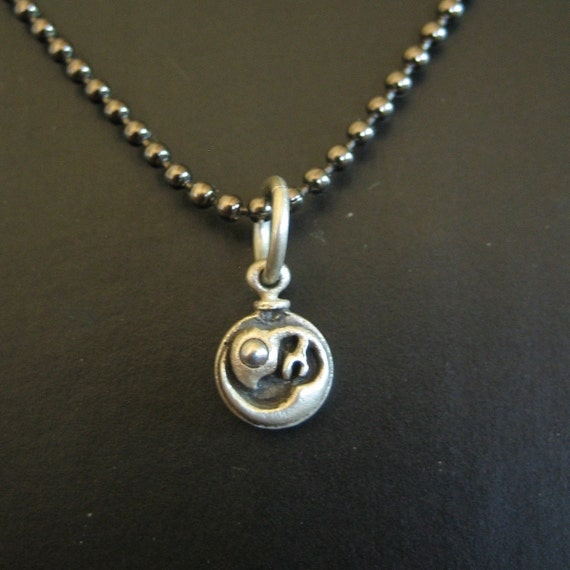 EMBRYO CHARM sterling silver and stainless steel long gunmetal brass ball chain