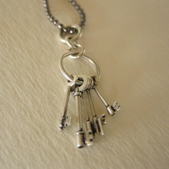 skeleton key necklace NANO KEYS TINIEST solid sterling  silver keys with long gunmetal brass ball chain