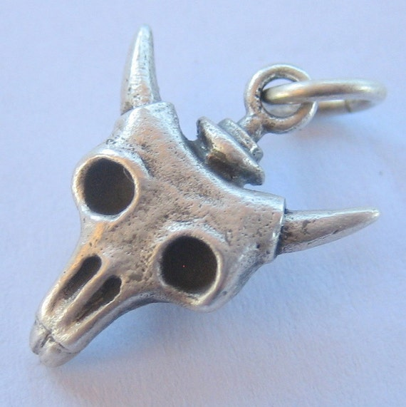 skull necklace tiny cow skull steunk sterling silver
