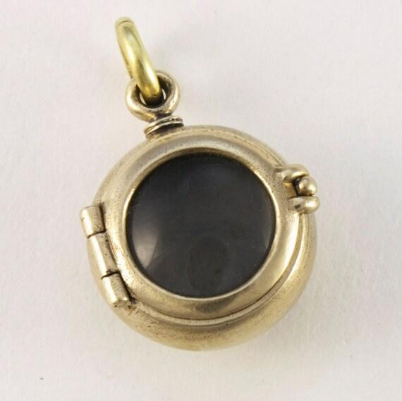 steampunk mourning locket locket bronze medium porthole locket  gold balls with quartz lens on long antique finish brass ball chain