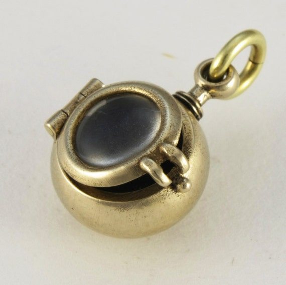 STEAMPUNK locket BABY BUBBLE locket with long bronze antiqued solid brass long ball chain