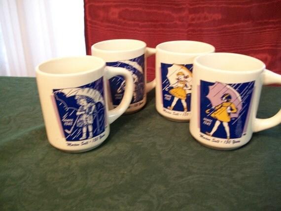 Morton Salt Girl Coffee Mugs Collectibles Set Of 4