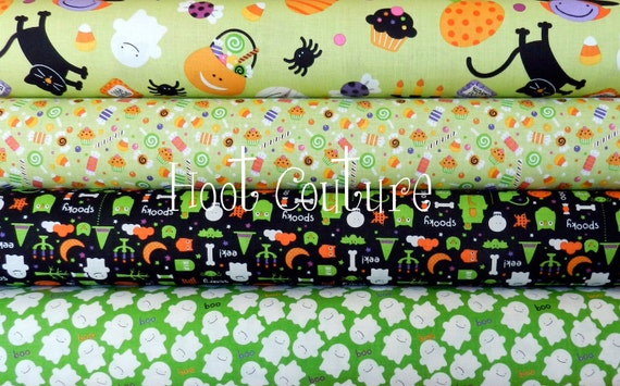 Trick or Treat Collection from Riley Blake Fabrics - half yard bundle - 2 yards total - on sale