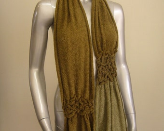 """Delicate handloomed scarf with rouched segments. 10"""" wide x 60"""" long."""