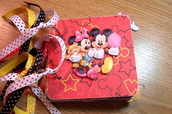 Mickey Loves Minnie Mini Chipboard Album Scrapbooking Photo Premade Pages