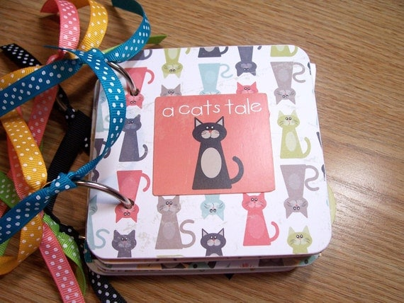 A Cats Tale Mini Album Chipboard Scrapbook