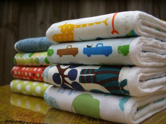 SALE - PICK THREE organic cotton burp cloths