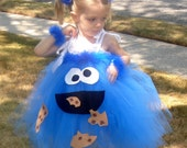Handmade Boutique COOKIE MONSTER Inspired Tutu Dress Halloween Costume 12m 18m 2T 3T by Cutiepatootietutus on Etsy