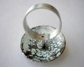 Freid ring, sterling silver, patina, blue, Contemporary modern jewelry, blue, aqua