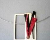 Pot pendant, Contemporary modern jewlery, red, black, natural, geometric,