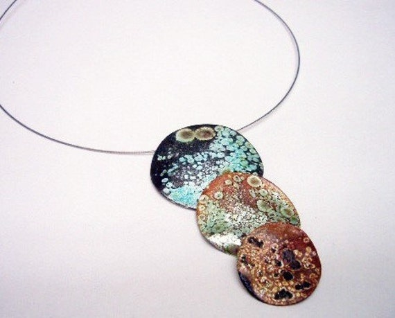 Fried Necklace Blue turkoise, necklace, pendant, woman, circle, sterling silver, organic, orange, white, brown, cute, big