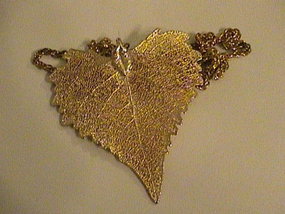 large gold dipped leaf pendent