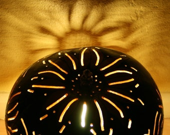SALE 35% OFF Awesome Sunflower Gourd Table Lamp Pyrographed Painted