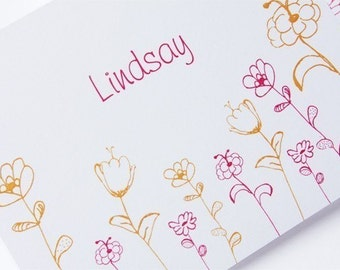 Pretty Wild Flower Stationery Set - 24 personalized foldover cards