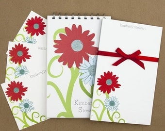Stationery Set with Notepad, Cards and Journal - Curvy Flower Design